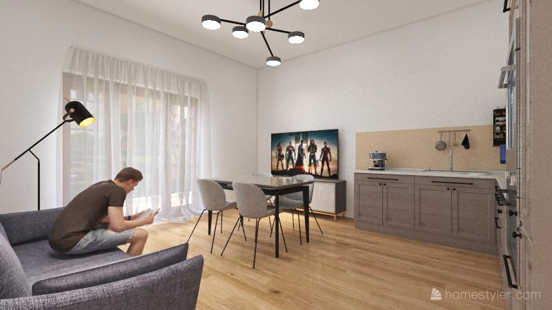 Trilocale Picchio 2 Interior Design Render
