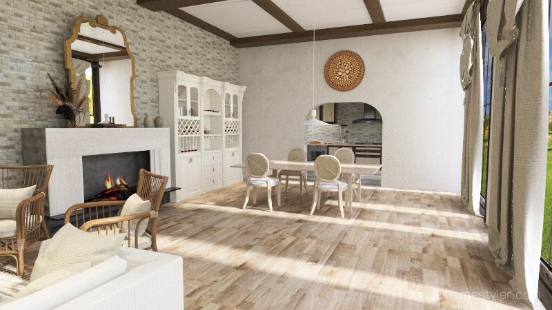 Cottage Core Small Home Interior Design Render