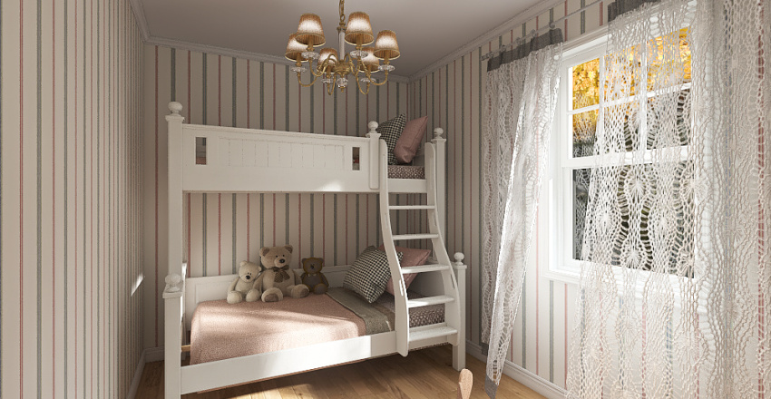 Girls room in the country Interior Design Render