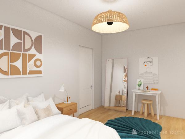 red and dark wood one-bedroom Interior Design Render