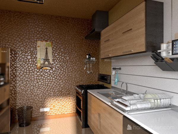 cozinha com copa Interior Design Render