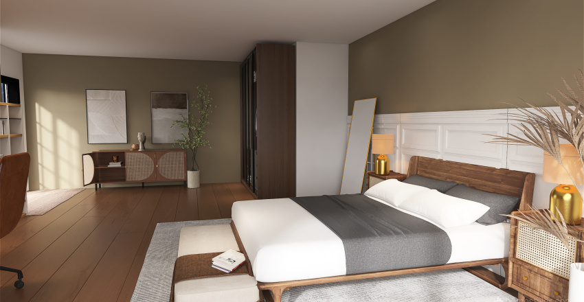 Calm bedroom with office and closet.  Interior Design Render