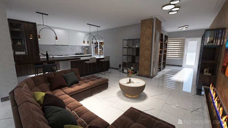 Old house , to a new luxury home . Interior Design Render