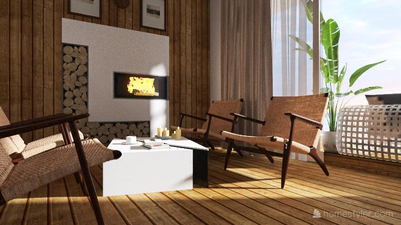 Seaside wooden house Interior Design Render