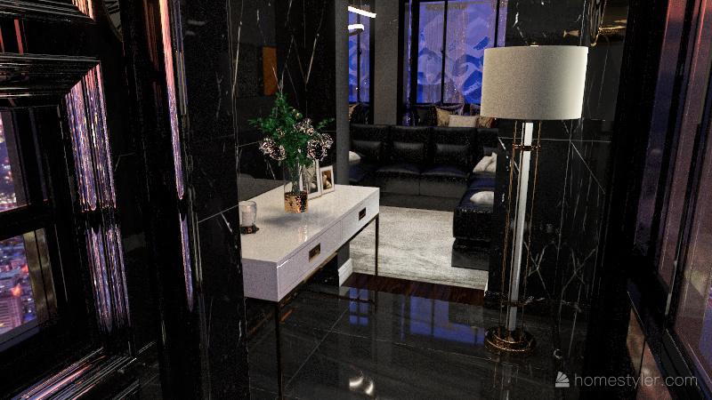 Grey Themed Condo Interior Design Render