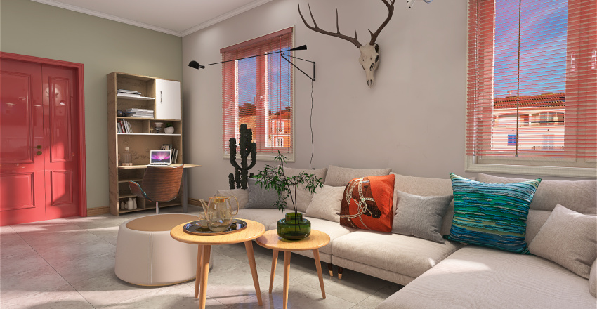 Happy Living Room Interior Design Render