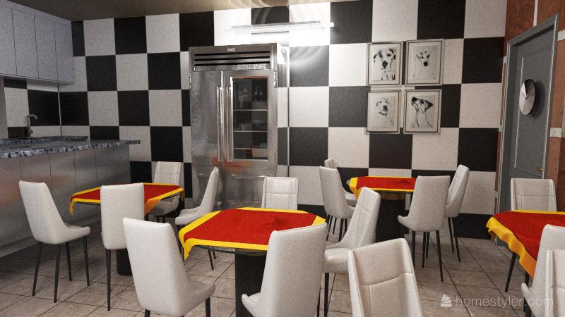 Local de hamburguesas Interior Design Render