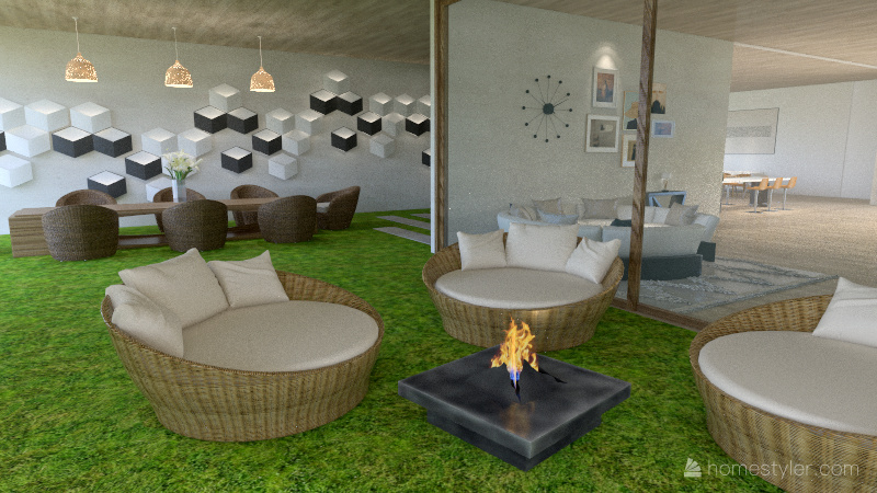 Bohemian Style house Interior Design Render