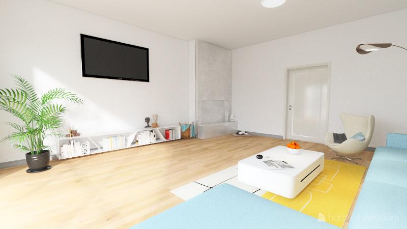 Bedroom and livingroom Interior Design Render