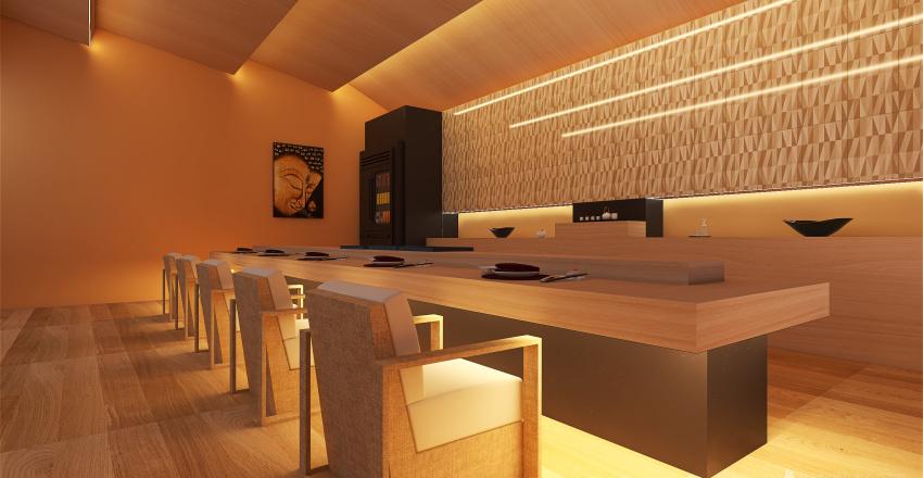 Japan Sushi Restaurant in Shibuya Interior Design Render