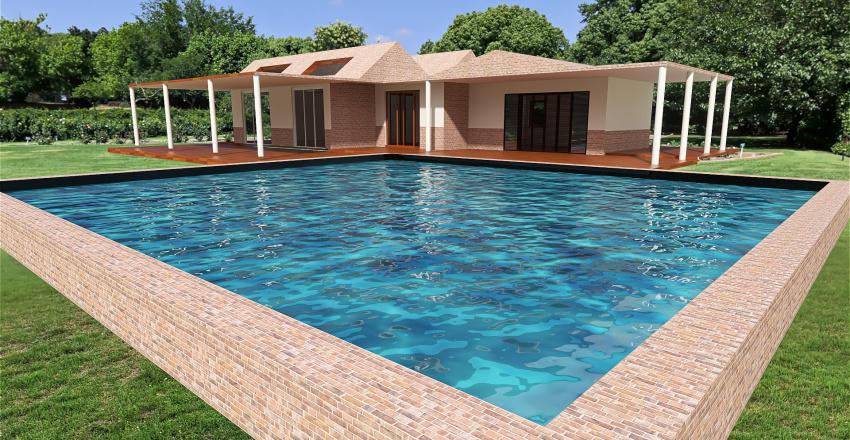 casa con piscina Interior Design Render