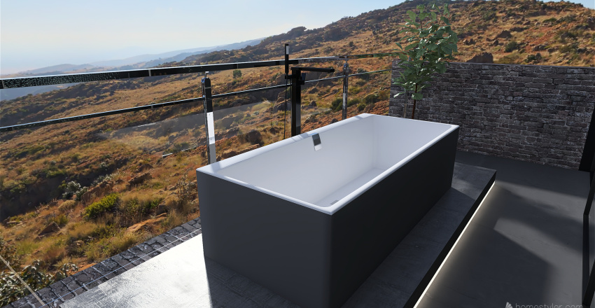 Gray Bath Interior Design Render