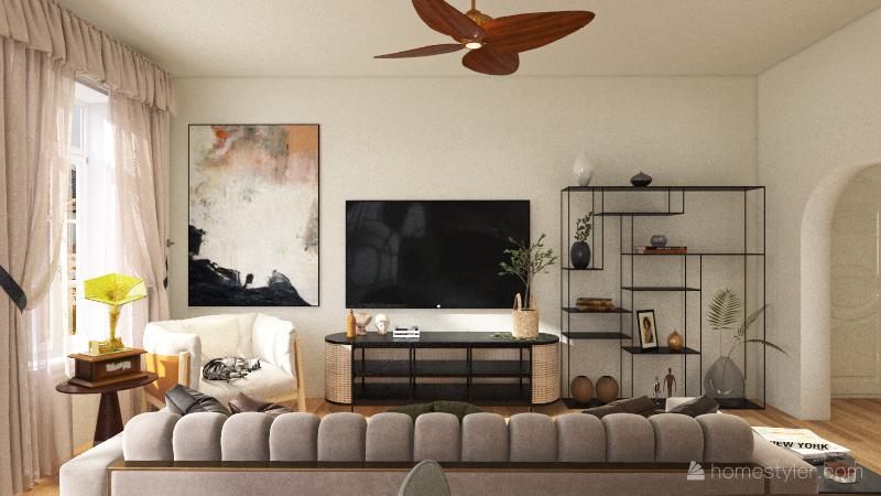 neutral and black tone Interior Design Render