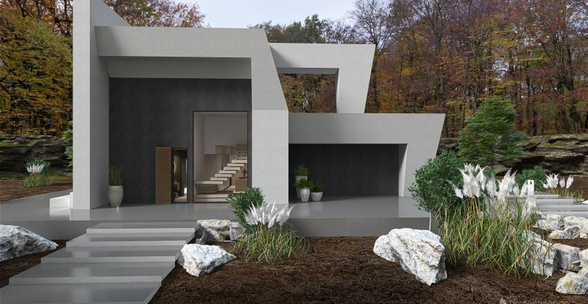 Casa de diseño en el bosque Interior Design Render