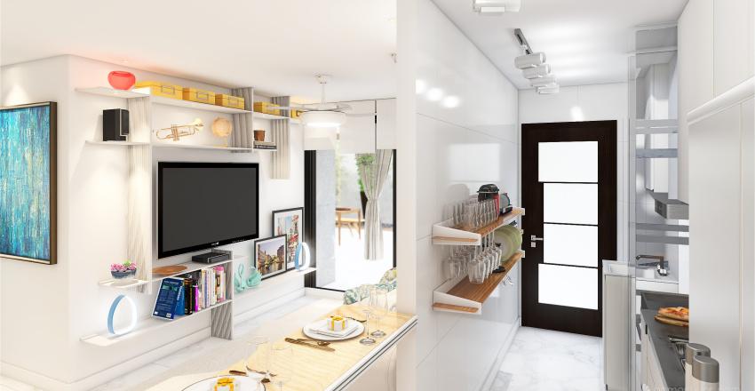 Living Room and Kitchen Botafogo 2021 Interior Design Render