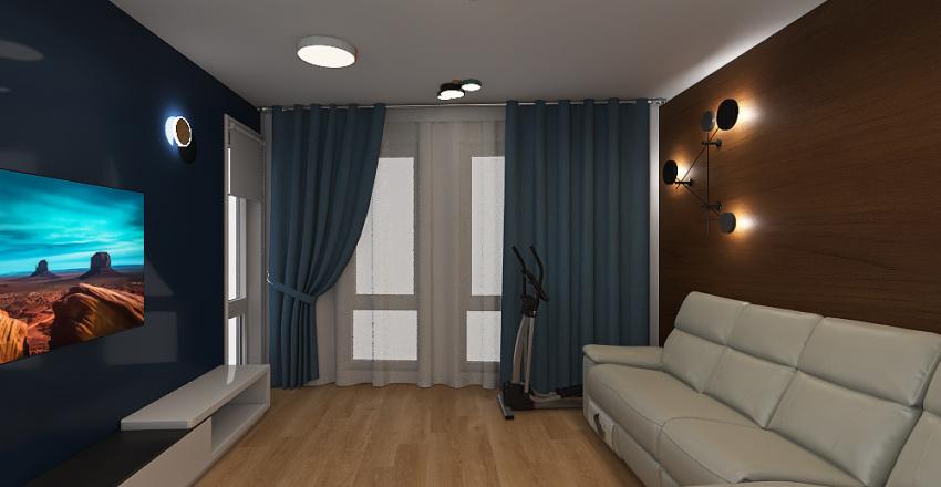 Living_blue_wood Interior Design Render
