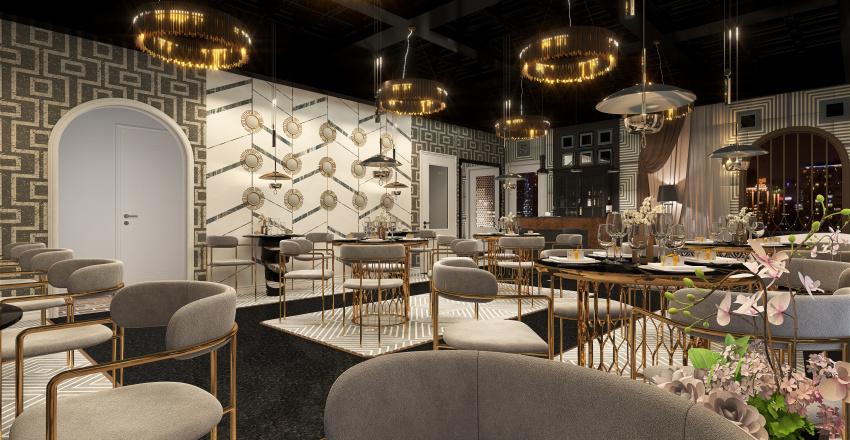 Glam Restaurant Interior Design Render