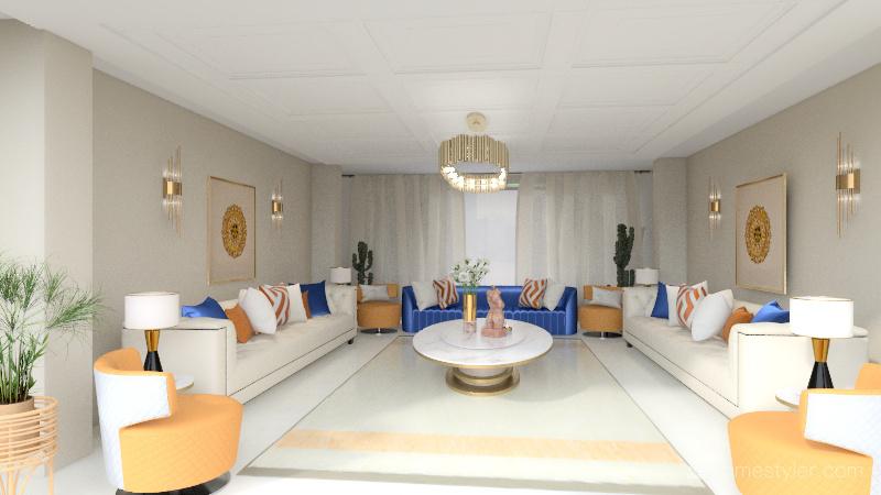 New classic living room design Interior Design Render