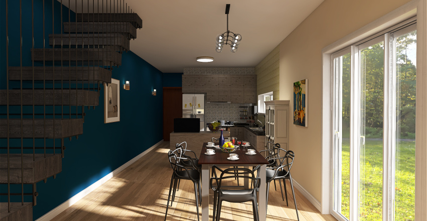 Projeto Minha Casa - Conceito Aberto Perspectiva Interior Design Render