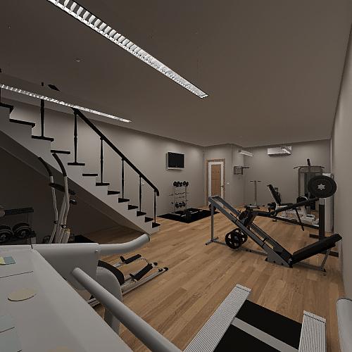 Basement gym Interior Design Render