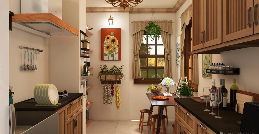 Italian Kitchen Interior Design Render