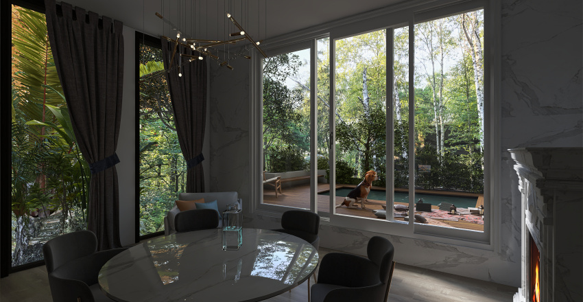Gray and wood Interior Design Render