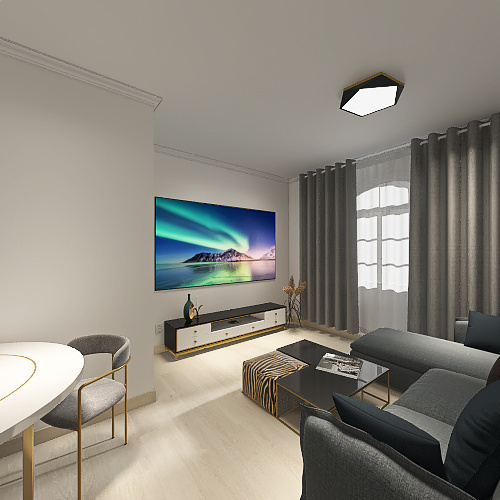 Salón Interior Design Render