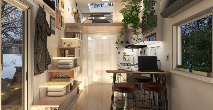 Cosy and Functional Tiny House Interior Design Render