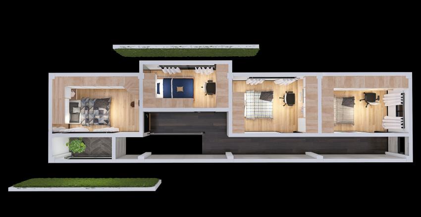 Casa de 2 pisos - 2DO. PISO Interior Design Render