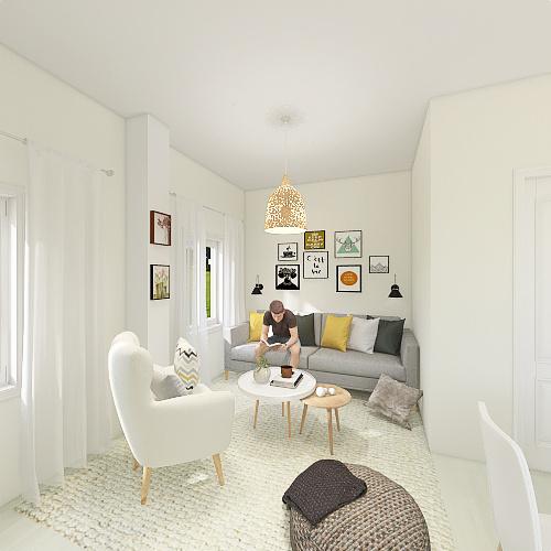 Salón estilo Nórdico Interior Design Render