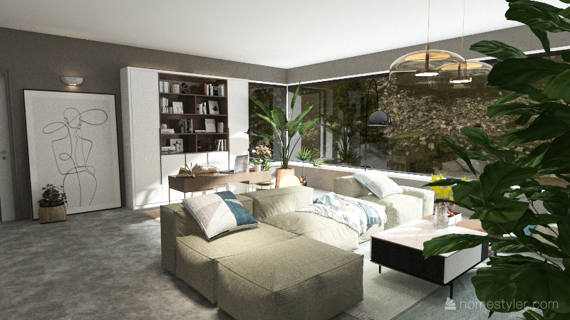 modern house 1 Interior Design Render