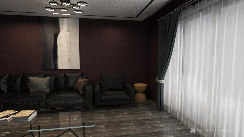 Sala de estar con toques oscuros Interior Design Render