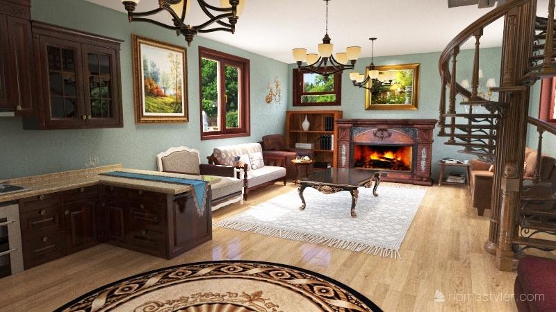 small 2storey house Interior Design Render