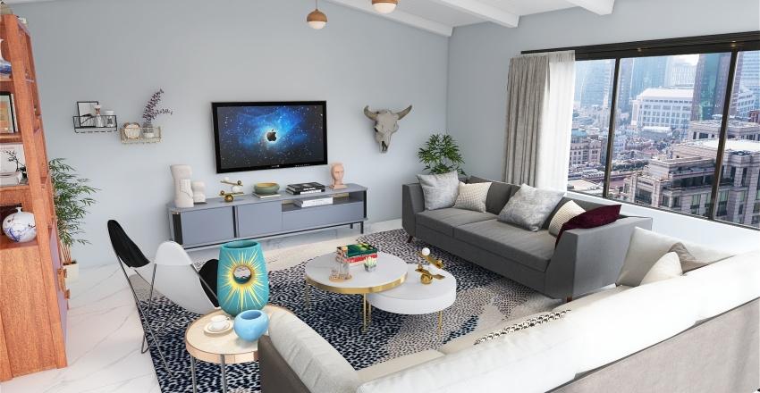 Scandinavian Style Living Room Interior Design Render
