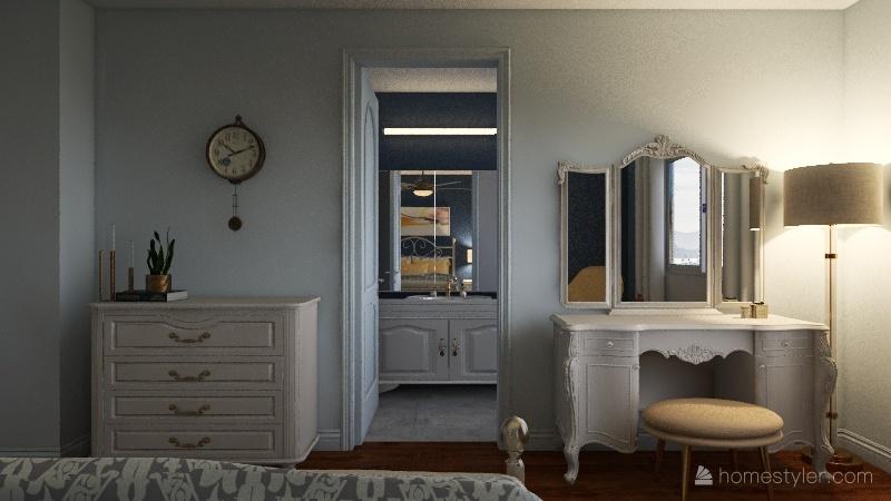 Uplifting Transitional Style Bedroom Interior Design Render