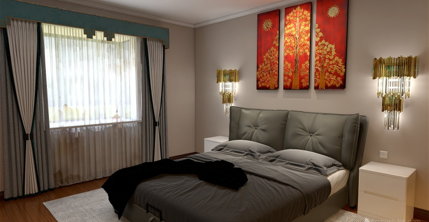 Casa com área de festa Interior Design Render