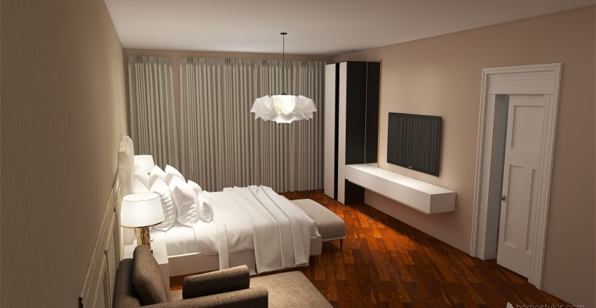 classic contemporary bedroom Interior Design Render