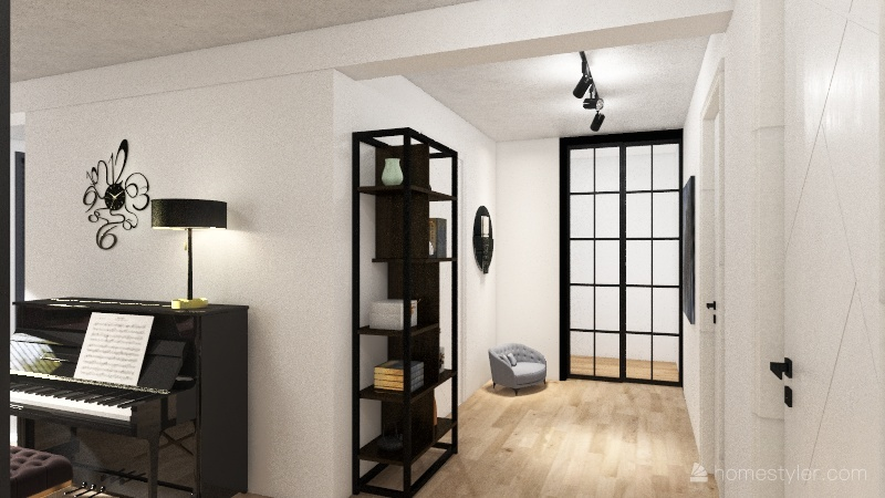 Salon z kuchnią Interior Design Render