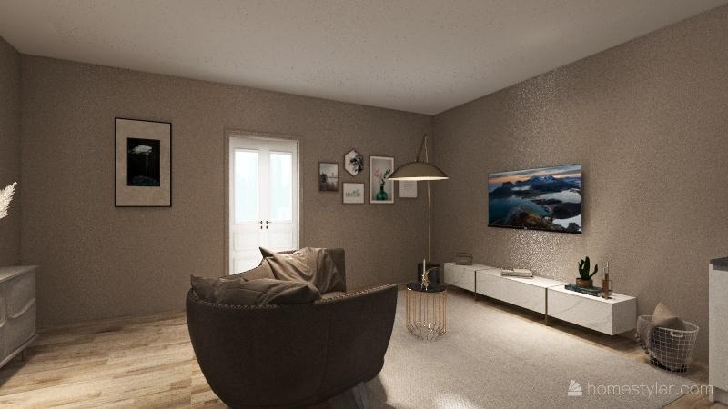 1 room apt Interior Design Render