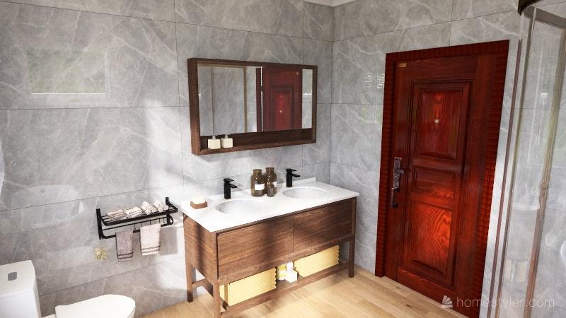 upside-down L-shaped-ish house Interior Design Render