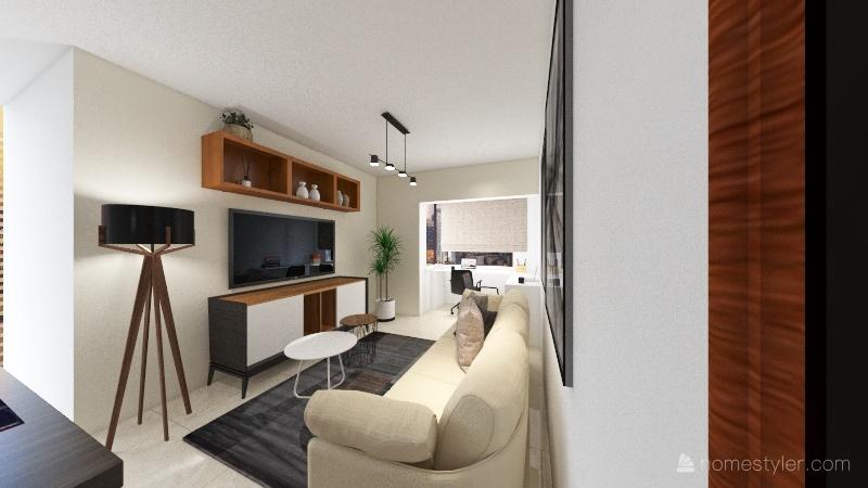 Sala ampliada 3 ambientes Interior Design Render