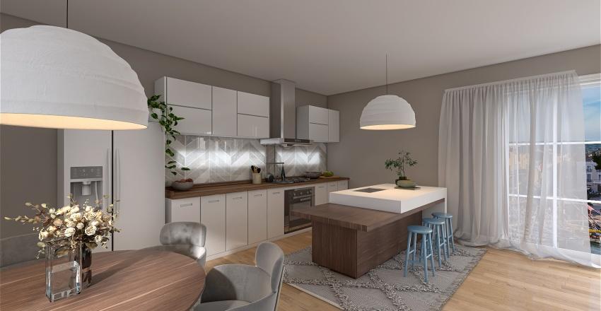 Scandinavian style open-plan living & dining Interior Design Render