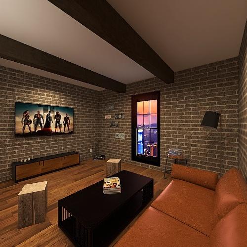 Sala de estar estilo Industrial Interior Design Render