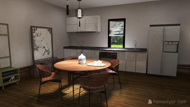 Asian Hut Interior Design Render