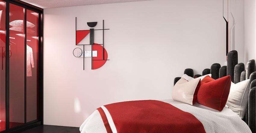 rooftop black & red Interior Design Render
