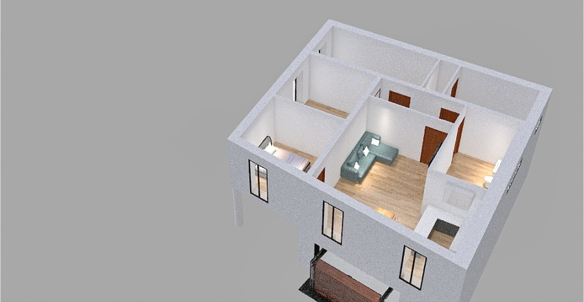 Vrabci - byt - schodiště Interior Design Render