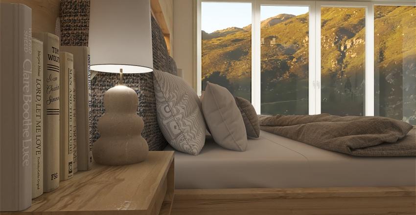 Modern Mountain Lodge Bedroom Interior Design Render