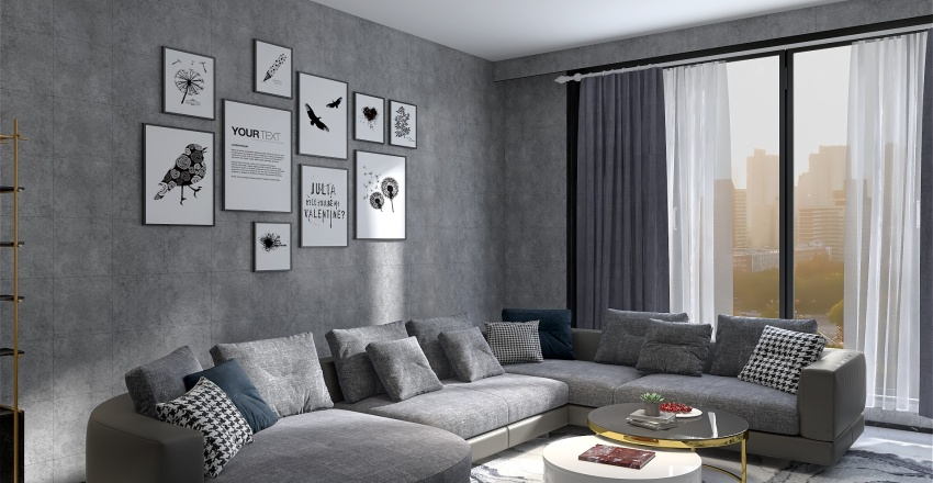 Bold Colors and Geometry Apartment Interior Design Render