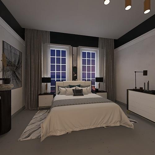 Room 1- Classic Black and White Interior Design Render