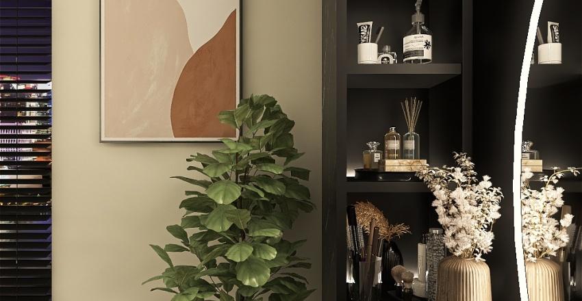 Black Bathroom Interior Design Render